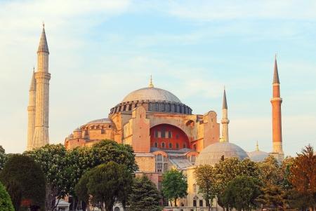 hagia: Famous Hagia Sophia in the evening, Istanbul, Turkey Stock Photo