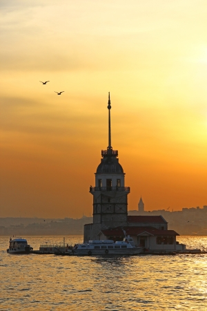 Maidens Tower at sunset, Istanbul, Turkey Stock Photo