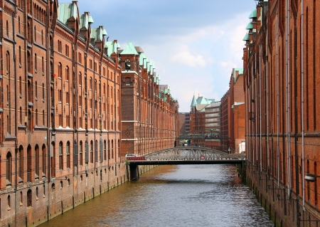 Speicherstadt - large warehouse district of Hamburg, Germany 版權商用圖片