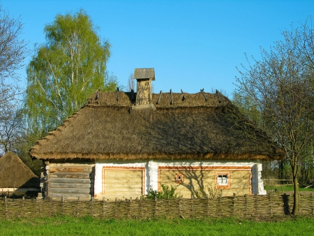 folk village: Authentic Ukrainian house in Pirogovo architecture and arts open-air museum, Kiev, Ukraine Editorial
