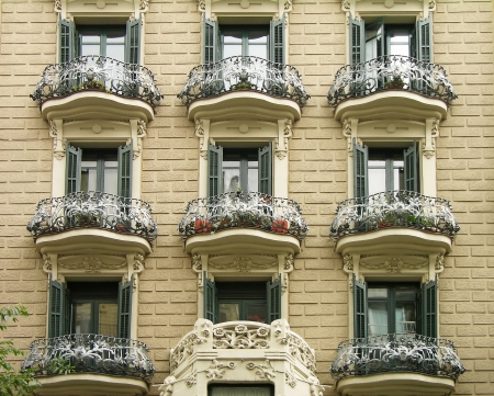 gothic window: Facade of a house in Barcelona, Spain