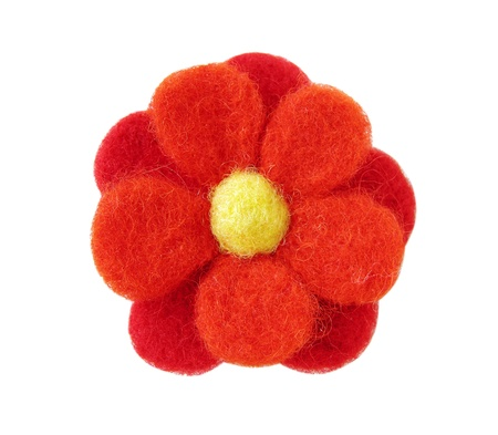 Red felt handmade flower