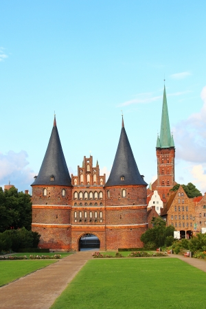 Holsten Gate (Holstentor or Holstein Tor), Lubeck old town, Schleswig-Holstein, Germany
