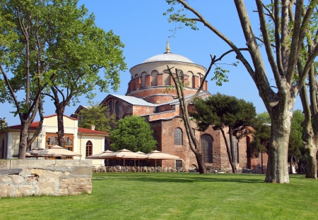 topkapi: Hagia Irene church (Aya Irini) in the park of Topkapi Palace in Istanbul, Turkey Stock Photo