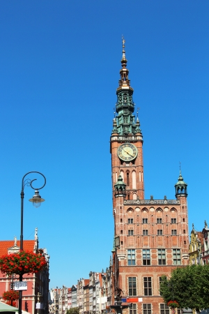 polska monument: Town Hall clock tower in the historical center of Gdansk, Poland