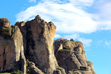 kalampaka: Meteora Rocks and Holy Monastery of St. Stephen, Greece Stock Photo