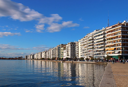 Thessaloniki embankment reflected in water, Greece Stock Photo