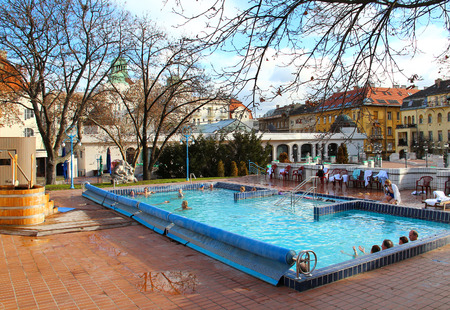 BUDAPEST, HUNGARY - JANUARY 4, 2013  People enjoy an outdoor thermal pool in the Gellert Medicinal Bath - one of the most famous bath in Budapest opened in 1918 Editorial