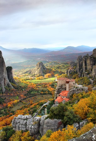 Meteora Rocks and Roussanou Monastery, Greece Stock Photo