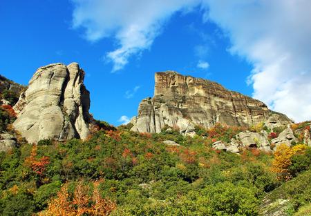 kalambaka: Meteora Rocks, view from Kalambaka, Greece Stock Photo