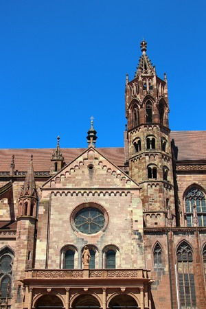 munster: Freiburg Minster  Freiburger Munster  in Freiburg im Breisgau, Germany Stock Photo