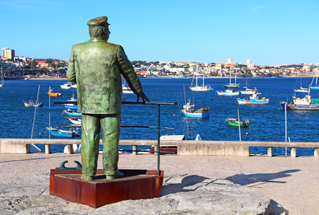 carlos: The Statue of Dom Carlos I, King of Portugal, overlooking the harbor in Cascais, Portugal Stock Photo