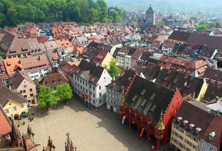 Bird eye view on Munsterplatz and old town of Freiburg im Breisgau, Baden-Wurttemberg, Germany
