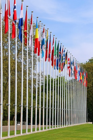 Flags of European countries near the Council of Europe in Strasbourg, France photo