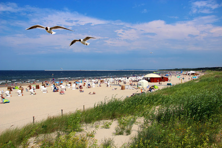 Popular Baltic sea beach on Usedom island in Swinoujscie, Poland Stock Photo