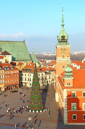 Castle square (plac Zamkowy) with Christmas tree in Warsaw old town, Poland