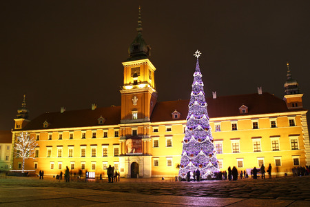 WARSAW, POLAND - DECEMBER 28, 2011: Christmas tree on the Castle Square in front of the Royal Castle