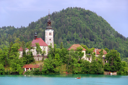assumption: Assumption of Mary Pilgrimage Church on the island at Bled lake, Slovenia