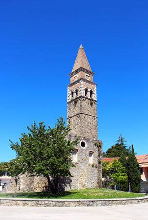 church ruins: Tower of St. Bernardin church ruins in Portoroz, Slovenia