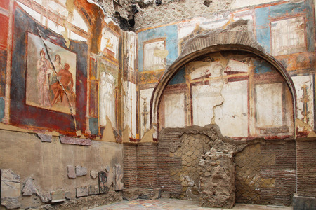 napoli: Ancient fresco in the ruins of Herculaneum, Italy