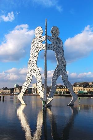Molecule Man sculpture on the Spree river in Berlin, Germany