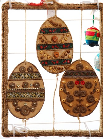 christian festival: KYIV UKRAINE  APRIL 16 2015: Pysanka Festival  traditional ukrainian festival of Easter eggs in St. Sophia Cathedral complex