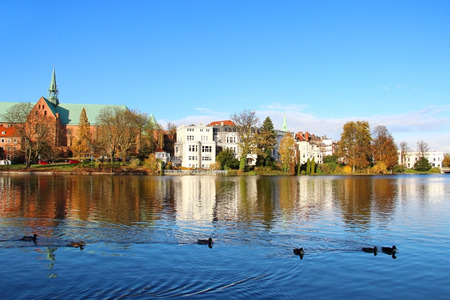 trave: Mill pond Muhlenteich in Lubeck old town Germany Stock Photo