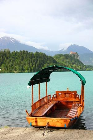 bled: Boat at Bled lake Julian Alps Slovenia Stock Photo