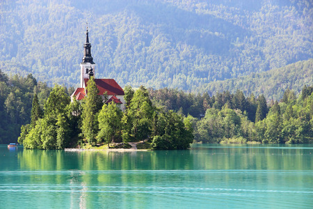 assumption: Assumption of Mary Pilgrimage Church on the island at Bled lake Slovenia
