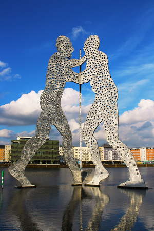 or spree: BERLIN GERMANY  FEBRUARY 2 2015: Molecule Man sculpture on the Spree river Editorial