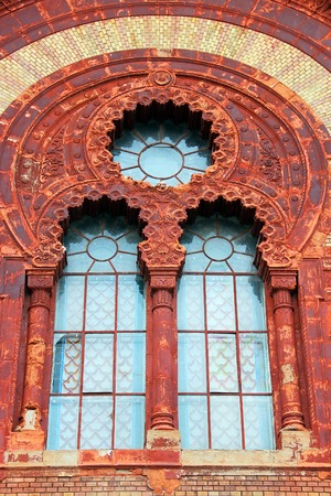 architectural exteriors: Fragment of Transcarpathian Regional Philharmonic building former Synagogue in Uzhgorod, Ukraine