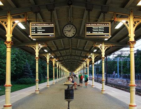 railtrack: SOPOT, POLAND - JULY 26, 2015: Platform of Sopot railway station