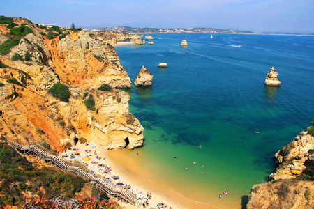 Camilo beach Praia do Camilo in Lagos, Algarve, Portugal 版權商用圖片 - 48325444