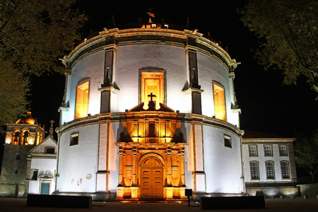 monasteri: Monastero di Serra do Pilar di notte, Vila Nova de Gaia, Porto, Portogallo Archivio Fotografico