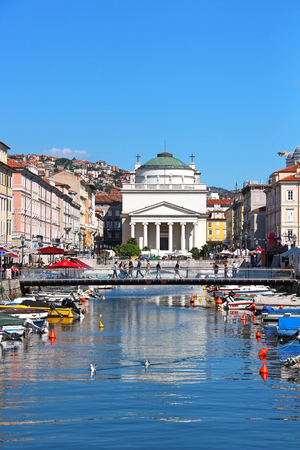 TRIESTE, ITALY - May 25, 2014: Grand canal and St. Antonio Taumaturgo church in Trieste, Italy