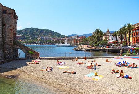 RAPALLO, ITALY - JUNE 28, 2016: Beach of Rapallo resort in Genoa province on the Ligurian sea coast Editorial