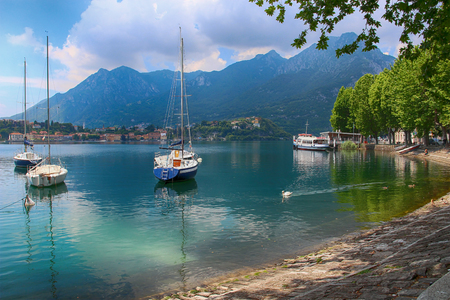 Beautiful view of lake Como, Lecco, Italy