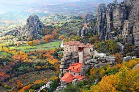 Beautiful landscapes and monasteries of Meteora in autumn, Kalambaka, Greece