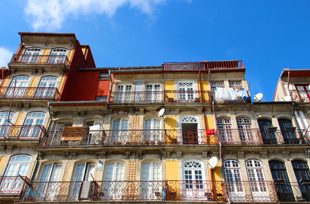 Bright old buildings in Porto old town, Portugal