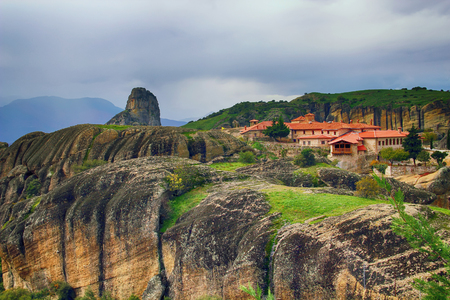Great Meteoron Monastery and beautiful landscapes of Meteora in Kalambaka, Greece Stock Photo