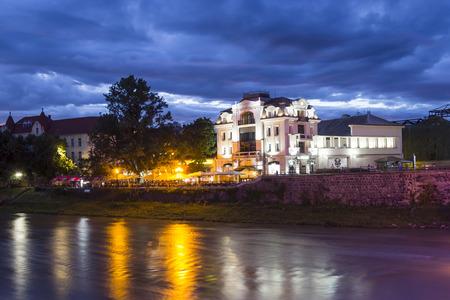 River Uzh and Theater square (Teatralna) in the evening, Uzhgorod, Ukraine
