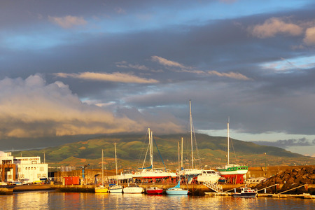 Boats and ships in the harbor of Ponta Delgada on Sao Miguel island, Azores