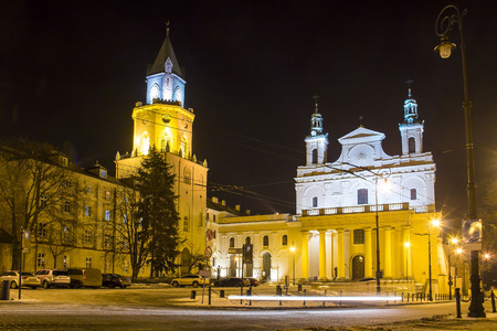 Trinity tower (Wieza Trynitarska) and Cathedral of St. John the Baptist in Lublin old town, Poland