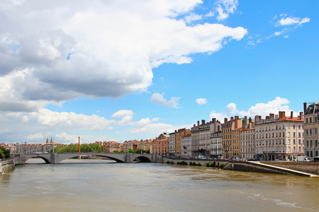 Saone river in downtown Lyon, France