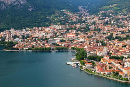 Aerial view of Lecco town on the lake Como, Italy Archivio Fotografico