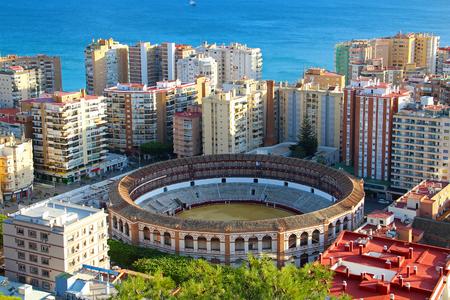 Aerial view of Malagueta district and bullring (Plaza de Toros La Malagueta), Malaga, Andalusia, Spain