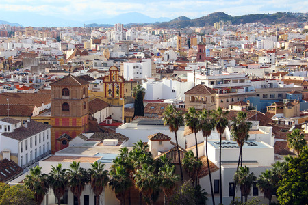 Aerial view of Malaga, Andalusia, Costa del Sol, Spain