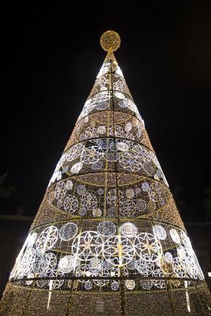 Illuminated New Year tree in Seville, Spain Archivio Fotografico