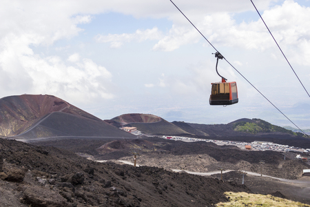 Silvestri craters and cable car to Etna volcano, Sicily, Italy