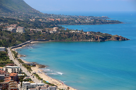 Aerial view of Cefalu beach and Mediterranean sea, Sicily, Italy